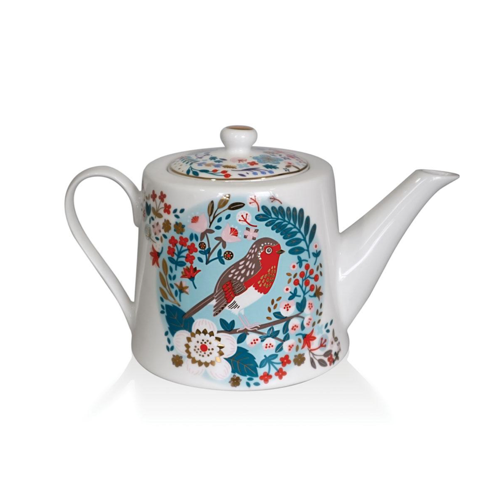 Robin & Blue Tit Tea Pot