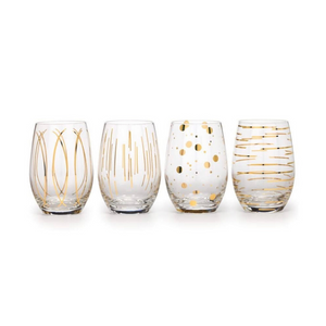 Cheers Gold Stemless Wine Glasses - Set of 4