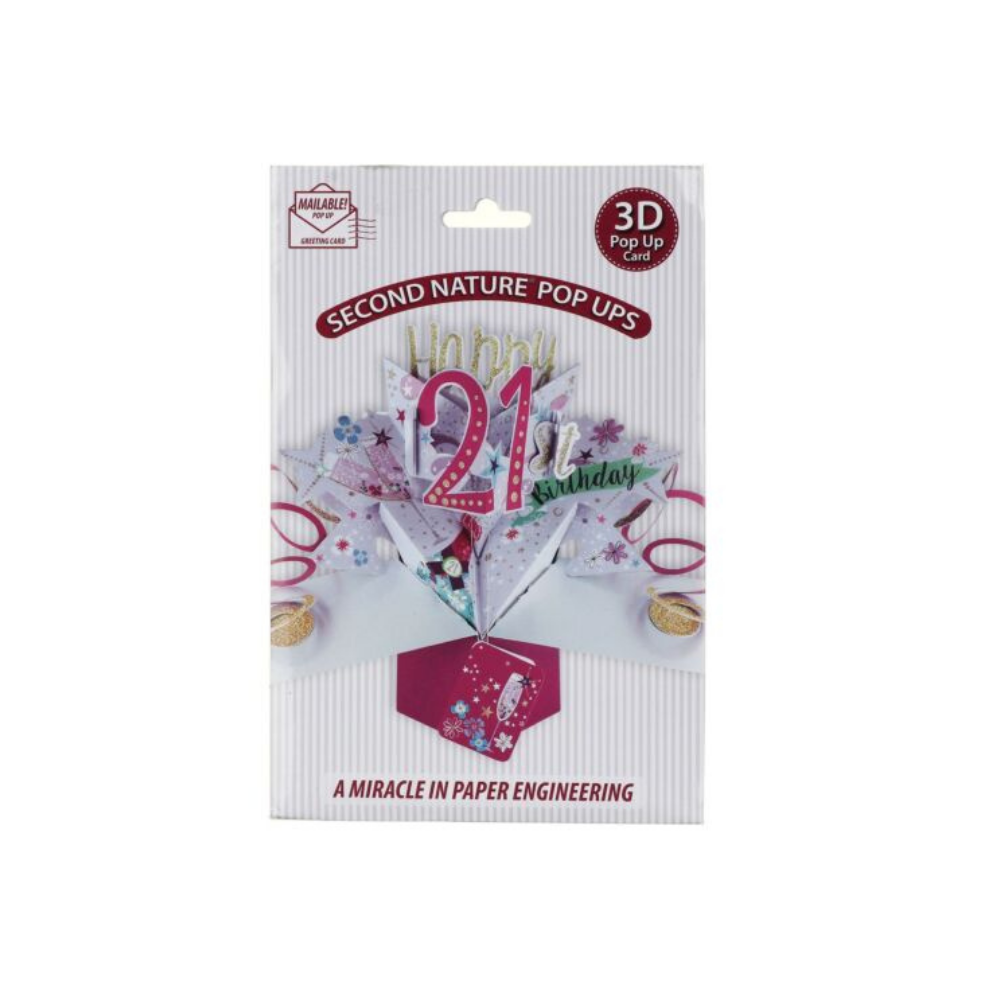 21st Birthday Bubbly 3D Pop Up Card
