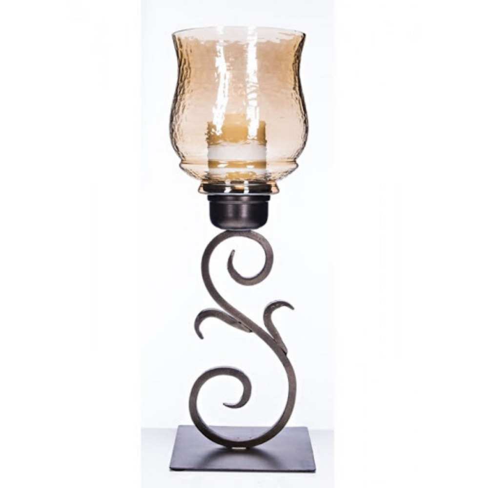Hurricane Candle Holder with Gold Luster Hammered Glass