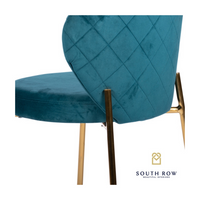 Diamond Stitch Accent Chair Teal Velvet
