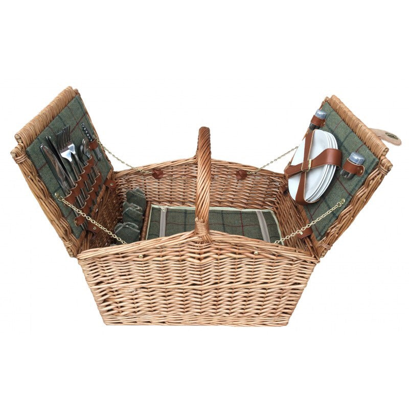 Green Tweed Picnic Basket