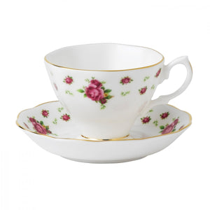 New Country Roses White Vintage Teacup and Saucer