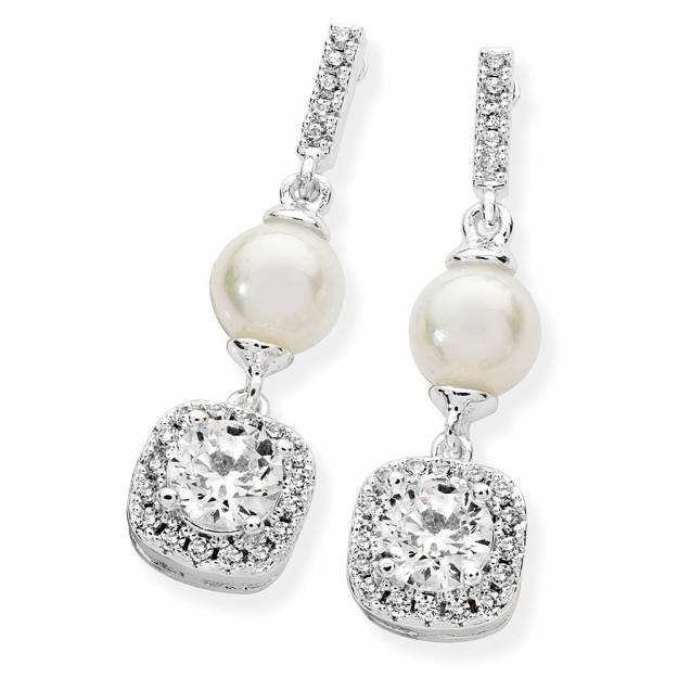 Silver Pearl Bar With Cz Drop Earrings