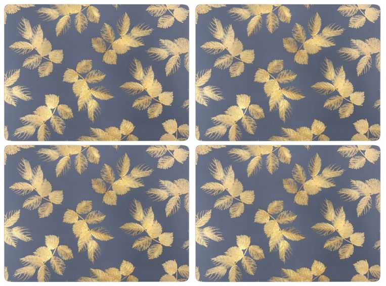 Sara Miller London Portmeirion Etched Leaves Placemats Set of 4 Navy