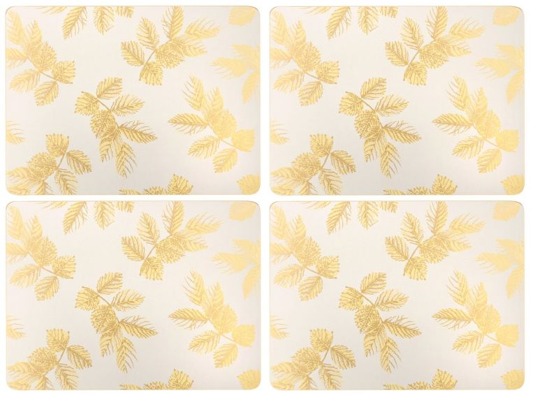 Sara Miller London Portmeirion Etched Leaves Placemats Set of 4 Light Grey