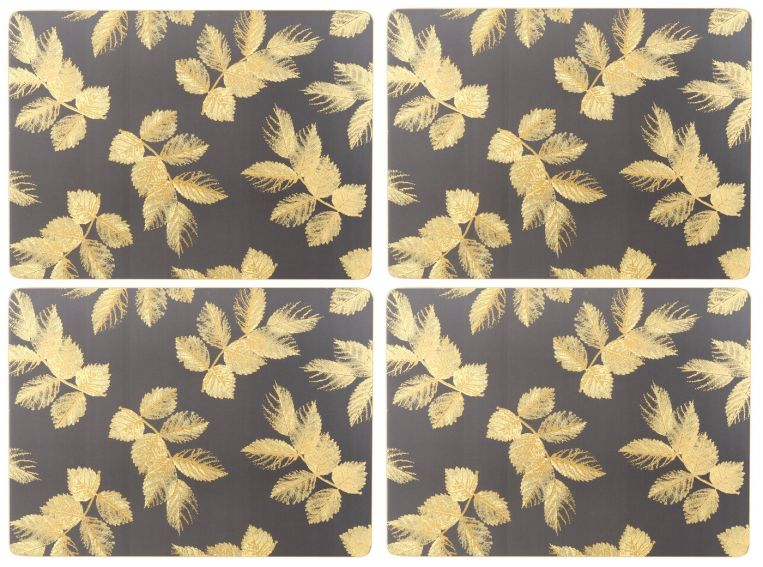 Sara Miller London Portmeirion Etched Leaves Placemats Set of 4 Dark Grey