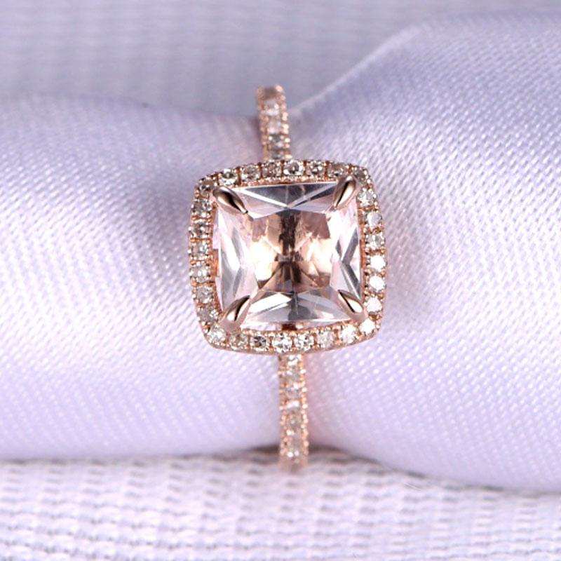 Hellojewelr 5.0 Carat Cushion Cut Champagne Stone Halo Engagement Ring