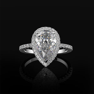 Hellojewelr Sterling Silver Halo 3.0 Carat Pear Cut Engagement Ring