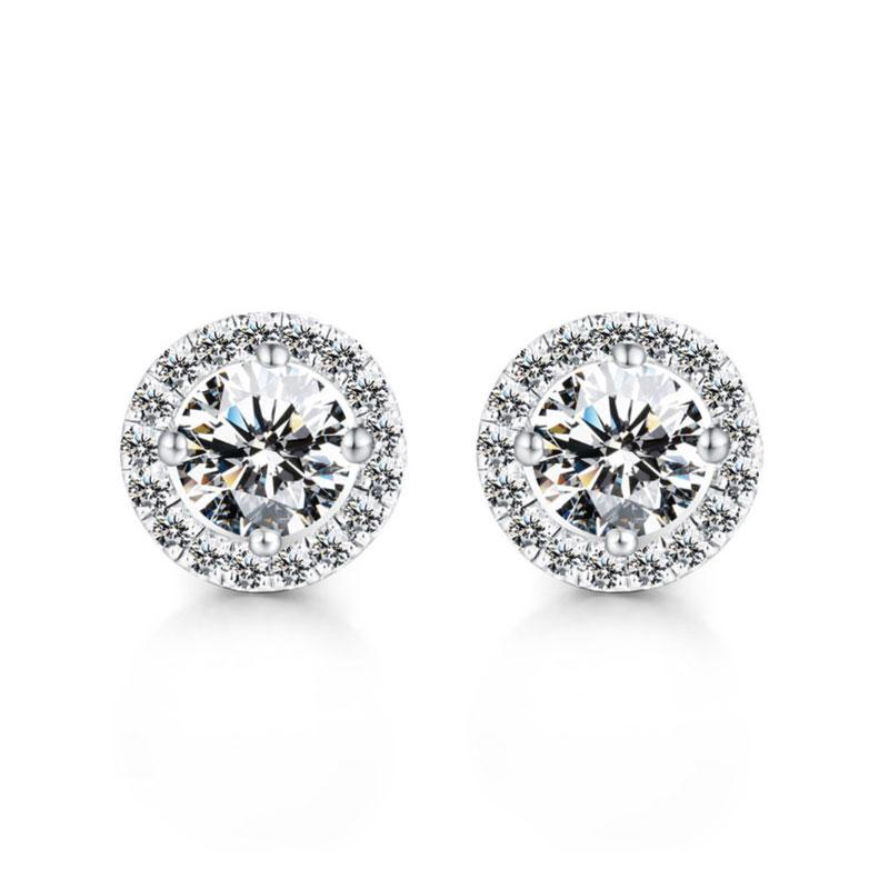 Hellojewelr Sterling Silver Classic Halo Round Cut Earring