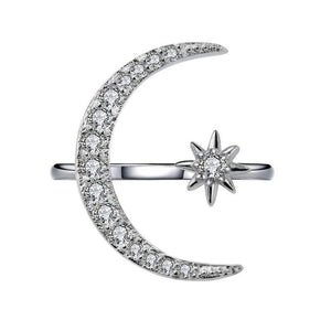 Hellojewelr Crescent Moon & Star Adjustable Sterling Silver Ring