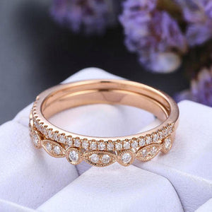 Hellojewelr Rose Gold Half Eternity Art Deco Women's Wedding Band Set