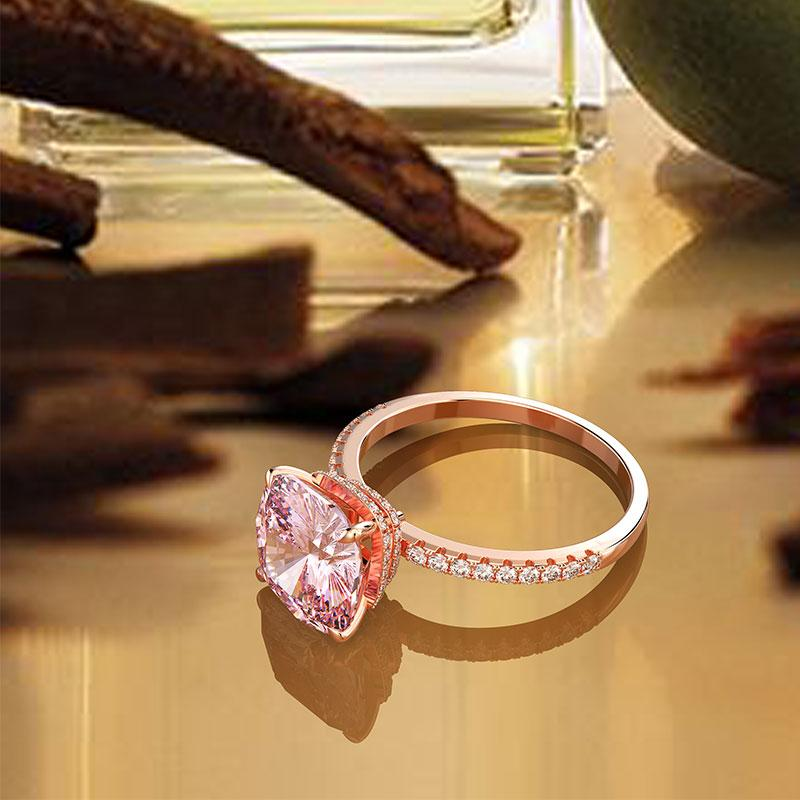 Hellojewelr Rose Gold Light Pink Cushion Cut Hidden Halo Engagement Ring