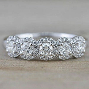 Hellojewelr Sterling Silver Fashion Halo Round Cut 5 Stone Wedding Band