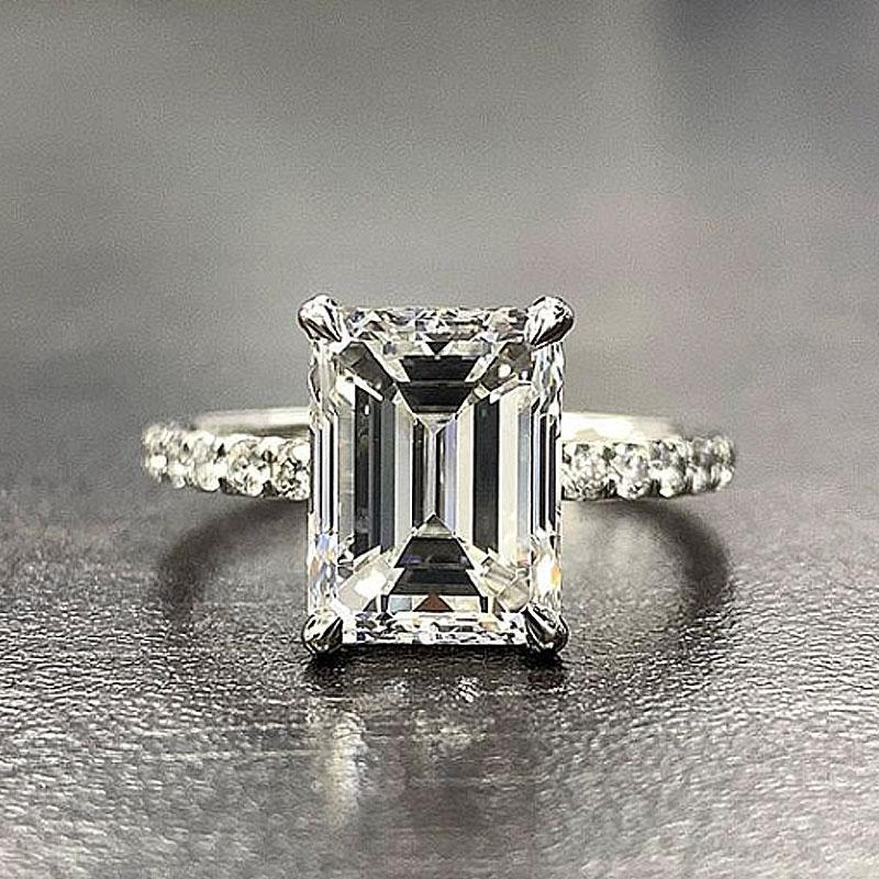 Hellojewelr Sterling Silver 5.0 Carat Emerald Cut Women's Engagement Ring