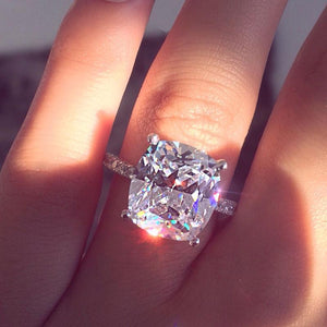 Hellojewelr Sterling Silver Classic 5.0 Carat Cushion Cut Engagement Ring