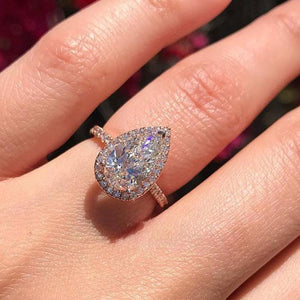 Hellojewelr Rose Gold Halo 3.0 Carat Pear Cut Engagement Ring