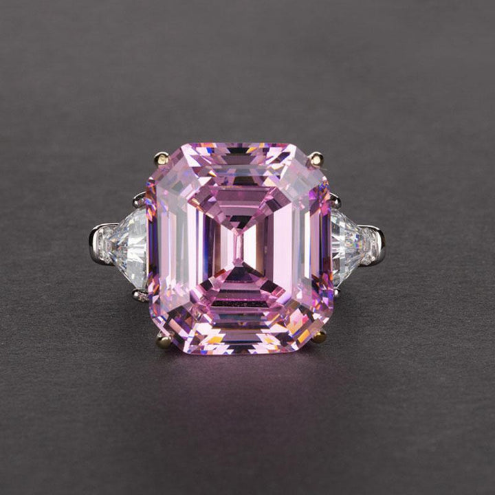 Hellojewelr Sterling Silver 7.0 Carat Pink Stone Radiant Cut and Trillion Cut Three Stone Engagement Ring