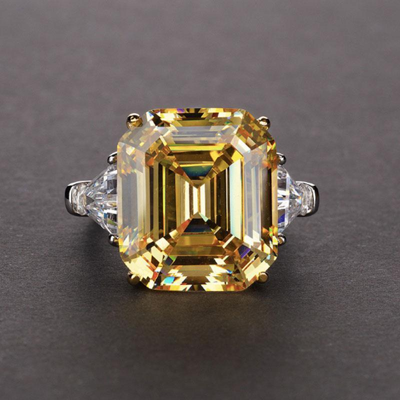 Hellojewelr Sterling Silver 7.0 Ct Radiant Cut Yellow Stone Emerald Cut Engagement Ring