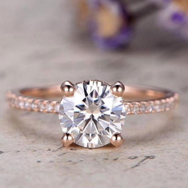 Hellojewelr Rose Gold Classic 2.0 Carat Round Cut Hidden Halo Engagement Ring