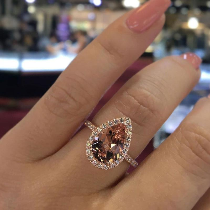 Hellojewelr Rose Gold Halo 3.0 Ct Pear Cut Champagne Stone Engagement Ring