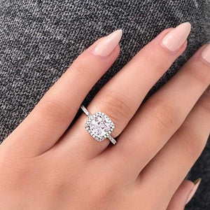 Hellojewelr Sterling Silver 3.0 Carat Cushion Cut Halo Engagement Ring