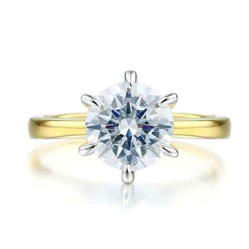 Hellojewelr Yellow Gold Classic 2.0 Carat Round Cut Engagement Ring