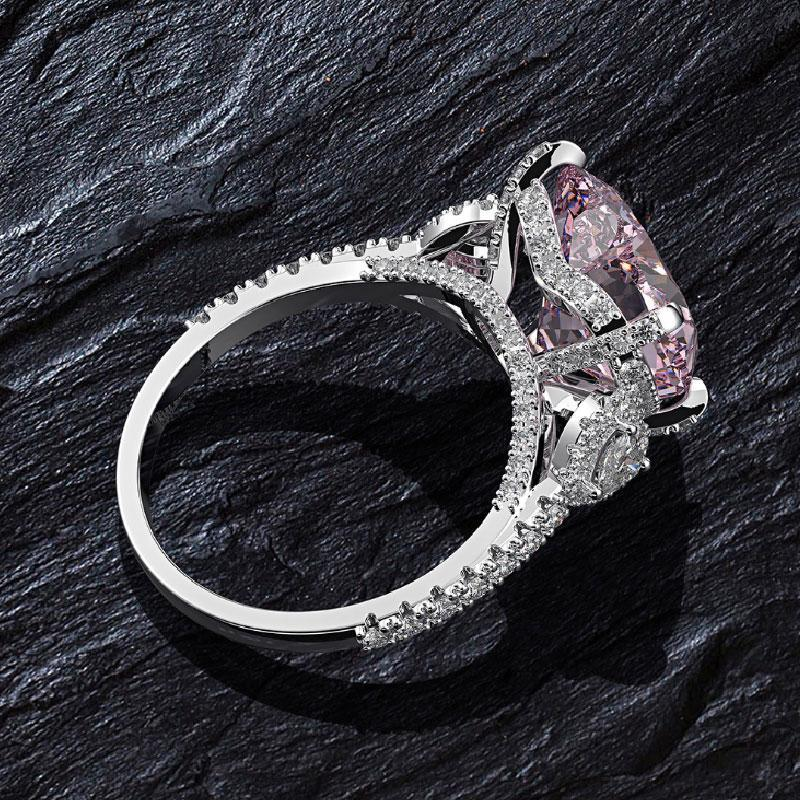Hellojewelr Sterling Silver Royal Romantic Pink 5.0 Carat Heart Cut Engagement Ring