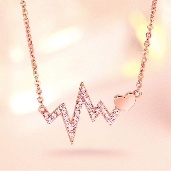 Hellojewelr Sterling Silver Heartbeat Pendant Necklace