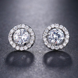 Hellojewelr Classic Halo Round Cut White Stone Earring In Alloy