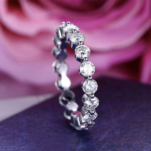 Hellojewelr Sterling Silver Fashion Eternity Round Cut Wedding Band