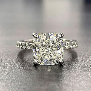 Hellojewelr Sterling Silver 3.0 Carat Cushion Cut Engagement Ring