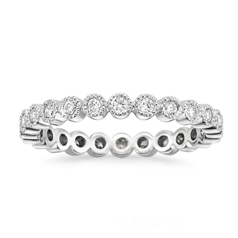 Hellojewelr Sterling Silver Eternity Round Cut Women's Wedding Band