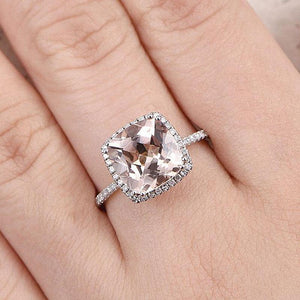Hellojewelr Sterling Silver 4.0 Carat Cushion Cut Champagne Stone Halo Engagement Ring