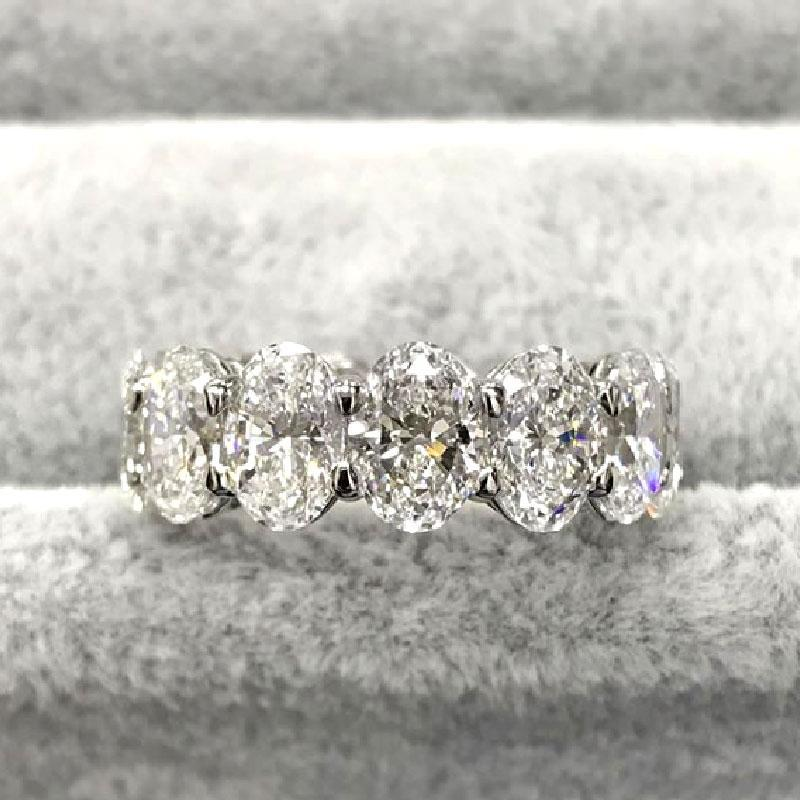 Hellojewelr Sterling Silver Gorgeous Eternity Diamond Wedding Band Set