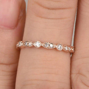 Hellojewelr Rose Gold Round Cut Art Deco Eternity Women's Wedding Band
