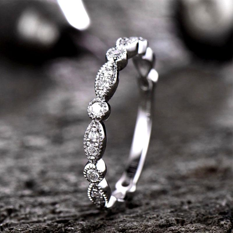 Hellojewelr Sterling Silver Milgrain Marquise And Dot Eternity Wedding Band