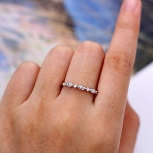 Hellojewelr Sterling Silver Milgrain Marquise And Dot 3/4 Eternity Wedding Band