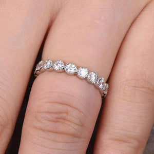 Hellojewelr Sterling Silver Full Eternity Round Cut Women's Wedding Band