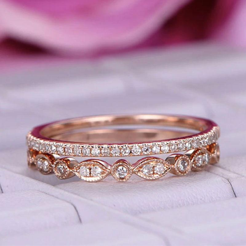 Hellojewelr Rose Gold Wedding Bands Set