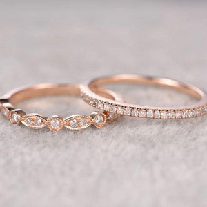 Hellojewelr Rose Gold Art Deco Half Eternity Women's Wedding Band Set