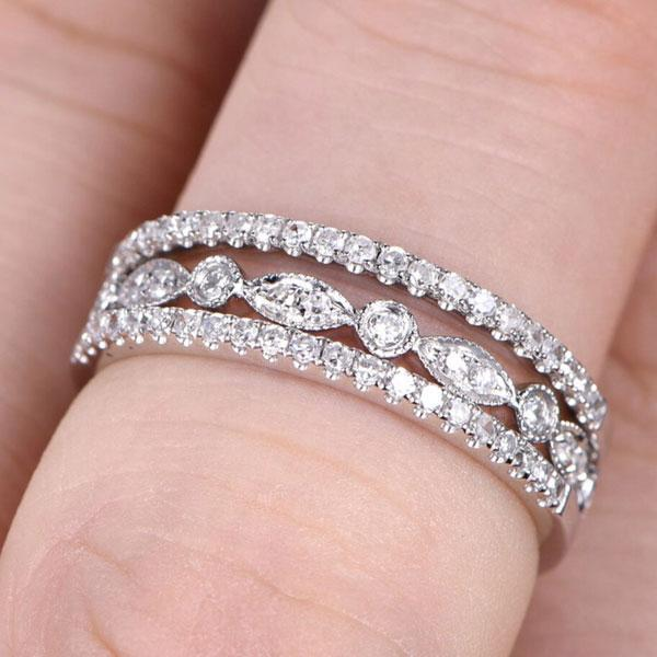 Hellojewelr Sterling Silver Half Eternity Art Deco 3PC Band Set