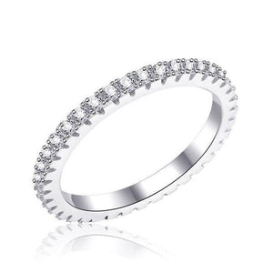 Hellojewelr Sterling Silver Four Row Full Eternity Stackable Band Set