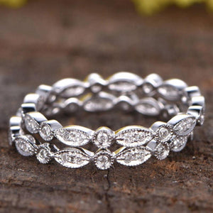 Hellojewelr Sterling Silver Art Deco Full Eternity Stackable Women's Wedding Band Set