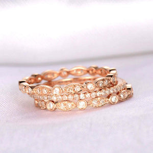Hellojewelr Art Deco Rose Gold Full Eternity 3PC Wedding Band Set
