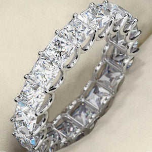 Hellojewelr Sterling Silver Eternity Princess Cut Wedding Band