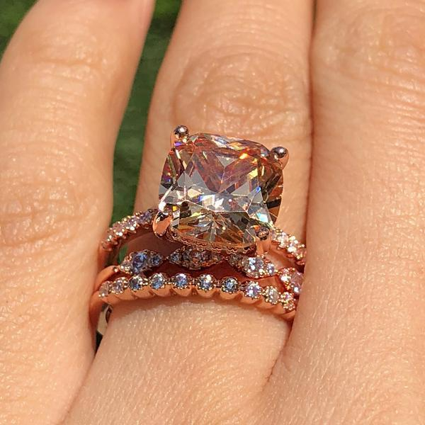 Hellojewelr Rose Gold 5.0 Carat Cushion Cut Champagne Sapphire Bridal Set