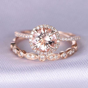 Hellojewelr Rose Gold Art Deco Halo 1..5 Carat Round Cut Champagne Sapphire Wedding Set