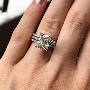 Hellojewelr Sterling Silver 5.0 Ct Radiant Cut White Stone Wedding Set