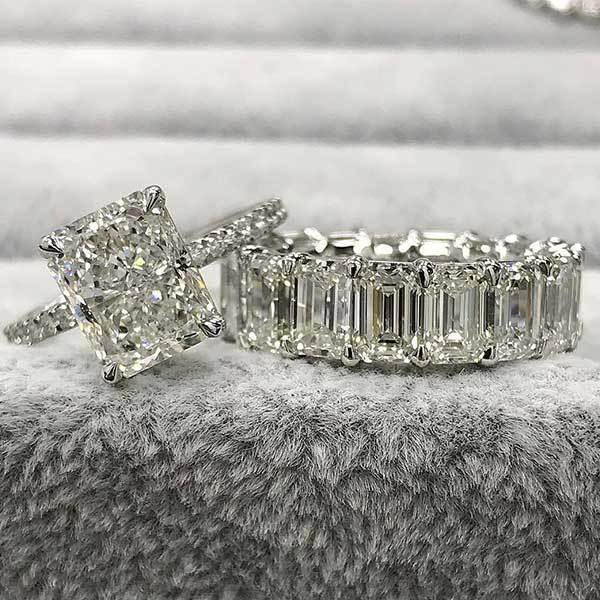 Hellojewelr Sterling Silver 3.0 Carat Radiant Cut Bridal Set